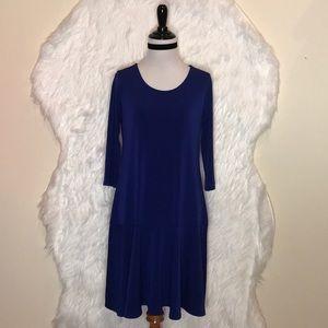 Leota Blue 3/4 Sleeve Dress